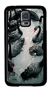 Black Swans PC Case Cover For Samsung S5 and Samsung Galaxy S5 Black