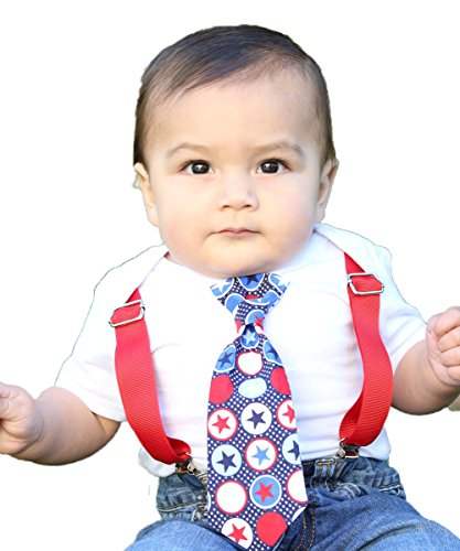 Noah's Boytique Baby Boy Fourth of July Outfit with Star Tie and Red  Suspenders Newborn - 4th Of July Baby Boy Outfit: Amazon.com