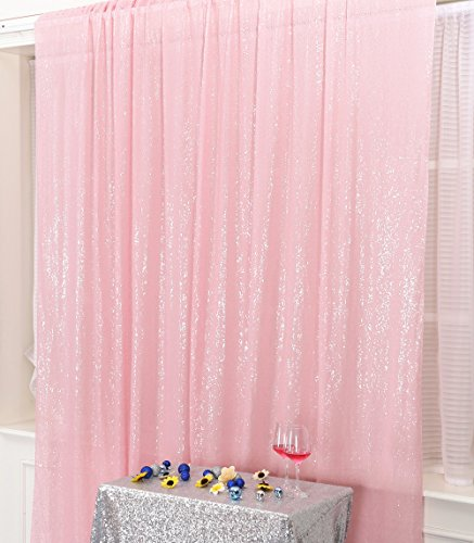PartyDelight Sequin Backdrop Wedding Curtain Special Events, Party, Pink, 4FTx6FT]()