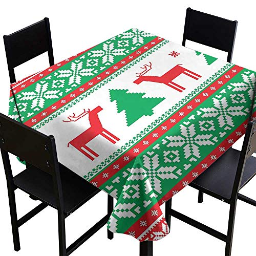 Christmas Elegance Engineered Tablecloth Knit Style Graphic Reindeer Figure Star and Snowflake Holiday Family Theme Runners,Gatsby Wedding,Glam Wedding Decor,Vintage ()