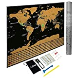 Scratch Off Map of The World with States and Flags. Black Travel Tracker Map 23x32inches