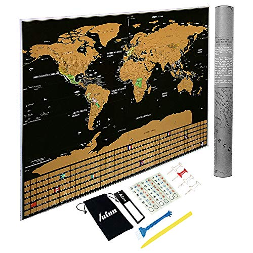 Scratch Off Map of The World with States and Flags. Black Travel Tracker Map 23x32inches by INFUN