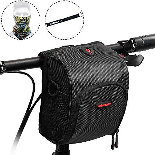 MattiSam Small Bike Handlebar Bag – It Can Become a Satchel – Detachable Shoulder Strap & Handle, Mesh Pocket, Rain Cover – Bicycle Front Bag, Bike Frame Bag, Bike Basket, Bike Pouch for Kid, Women