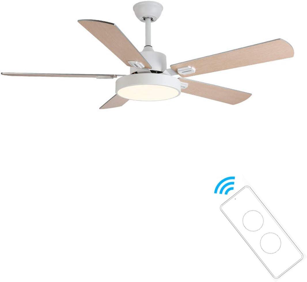 132CM Ventilador de Techo con Iluminación, 5 aspas del ventilador de madera de goma Ventilador de Techo LED Ventilador De Luz, 24W LED Luz de Techo Luz variable de 3 Colores, Control Remoto