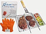 Cheap Stainless Steel Non Stick Folding BBQ Portable Grilling Basket set with Gloves and Removable handle for barbecue grill fish steak meat vegetables – veggies shrimp kabob camping cookware charcoal gas