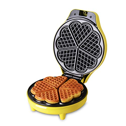 Waffle maker, Five-of-hearts Waffle irons Household Automatic Multifunction Nonstick plates Muffin machine-yellow 25x20x10cm(10x8x4inch)