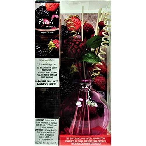 Flora Classique Reed Diffuser Difuser Room/Air Freshener in Vase, Fresh Berries, 6 oz.
