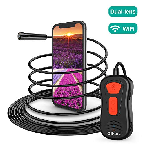 Oiiwak Dual Lens Endoscope Inspection Camera with 8mm Diameter Probe, 2.0 MP HD Wireless Borescope Semi-Rigid Tube for Android and iOS Smartphone, iPhone, Samsung, Tablet(11.5FT)