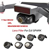 Inverlee MCUV/CPL/ND4/ND8/ND16/ND32 For DJI SPARK Drone Gimbal Camera HD Lens Filter 6PCS a Set (Black)