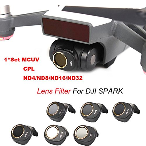 Inverlee MCUV/CPL/ND4/ND8/ND16/ND32 For DJI SPARK Drone Gimbal Camera HD Lens Filter 6PCS a Set (Black) by Inverlee