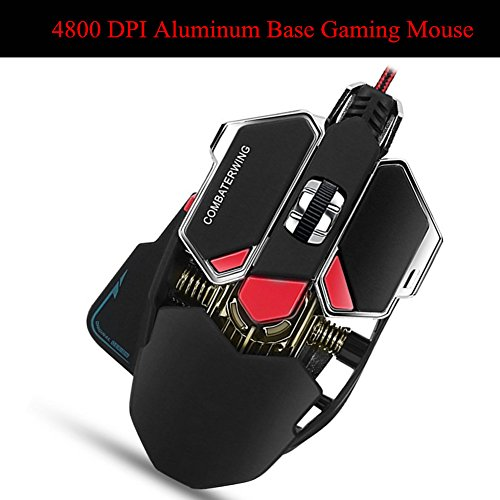 Combaterwing Gaming Mouse 4800 DPI Aluminum Base, 10 Buttons, RGB LED Professional Programmable USB Wired Gaming Mice for PC Laptops Computer ()
