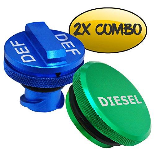Diesel Fuel Cap for Dodge, BORUD Magnetic Ram Diesel Billet Aluminum Fuel Cap and DEF Cap Combo for 2013-2018 Dodge Ram Truck 1500 2500 3500 with New Easy Grip Design ()