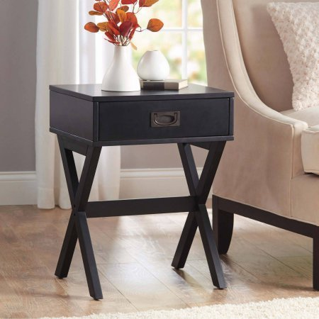 Better Homes and Gardens X-Leg Accent Table with Drawer (Black) (Accent Tables With Drawers)