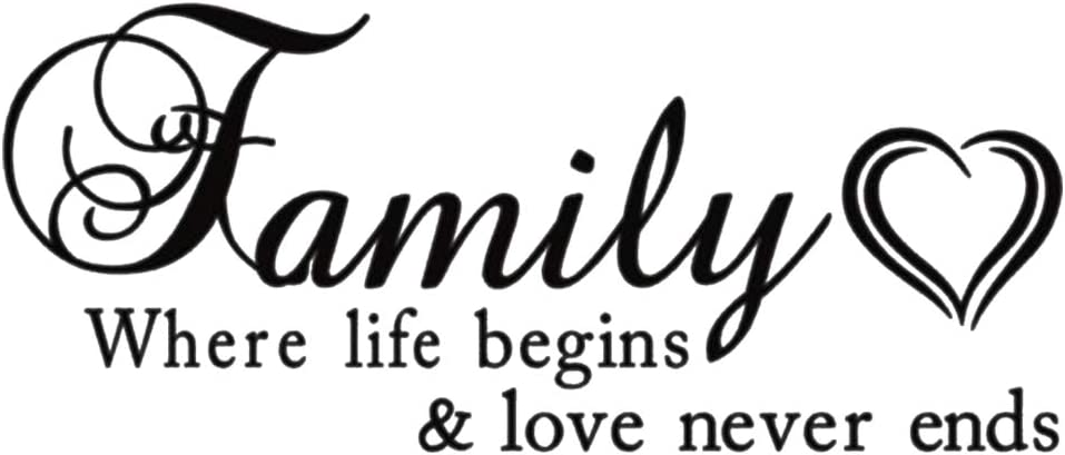 AUHOKY Family Where Life Begins & Love Never Ends Wall Decal Sticker Quotes, Removable DIY Mural Sayings Wallpaper Home Decor for Living Room Bedroom - Warm & Loving Art Words (23×9.4inch, Black) C