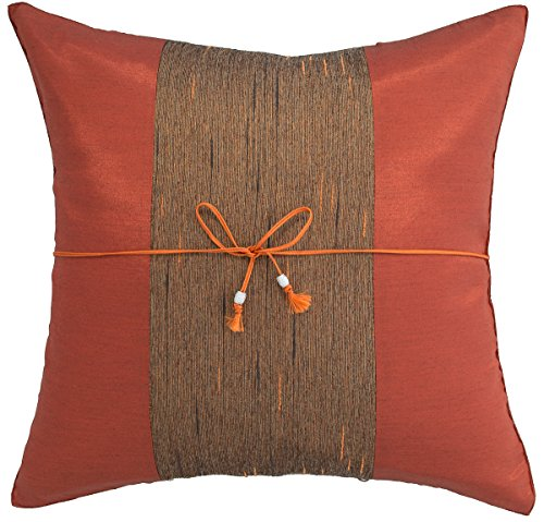 Avarada 16x16 Inch (40x40 cm) Striped Crepe Decorative Throw Pillow Covers Case Cushion Cover for Sofa Couch Chair Bed Insert Not Included Zipper Set of One Brunt Orange (Orange Silk Accent Pillow)