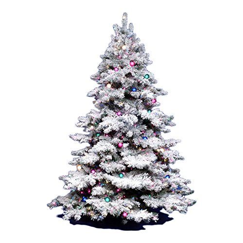 Vickerman 3Ft. Flocked Alaskan Unlite White on Green Christmas Tree w/ 116 -