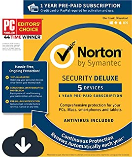 Norton Security Deluxe - Antivirus software for 5 Devices with Auto Renewal, Requires Payment Method - 1 Year Pre-Paid Subscription [PC/Mac/Mobile Download] (B015724OVG) | Amazon Products