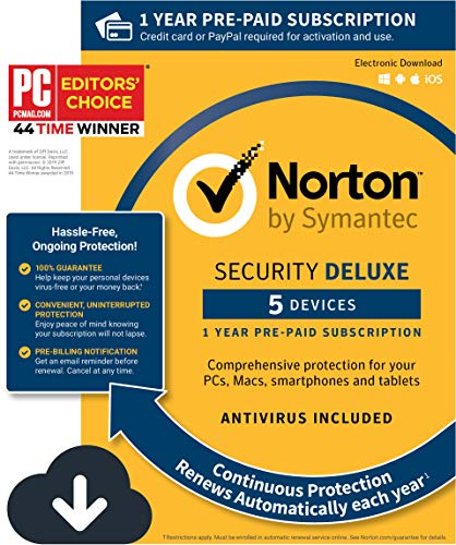 - Norton Security Deluxe - Antivirus software for 5 Devices with Auto Renewal, Requires Payment Method - 1 Year Pre-Paid Subscription [PC/Mac/Mobile Download]