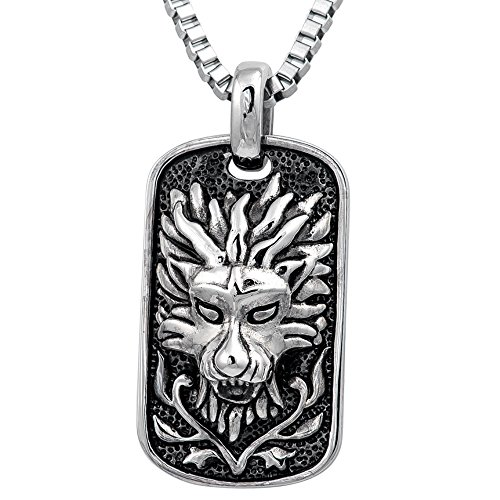 Pendant Dog Tag Combo (54MM STAINLESS STEEL ASIAN LION, DRAGON HEAD GOTHIC DOG TAG OXIDIZED SILVER TONE PENDANT Necklace Chain Combo 16in, 18in, 20in, 24in (18 inches))