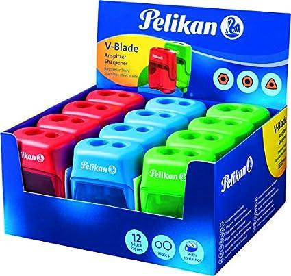 Pelikan 700238 - Sacapuntas con deposito y 2 orificios, color rosa, azul y verde: Amazon.es: Oficina y papelería