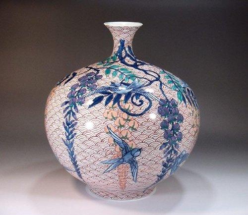 有田焼伊万里焼 花瓶陶器花器壺 贈答品 高級ギフト 贈り物 記念品 青海波燕藤井錦彩 B00HIS3KMW