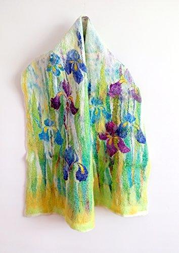 Flowers shawl Silk wool shawl Blue iris Evening shawl Mom Birthday gifts by Alla Taisheva