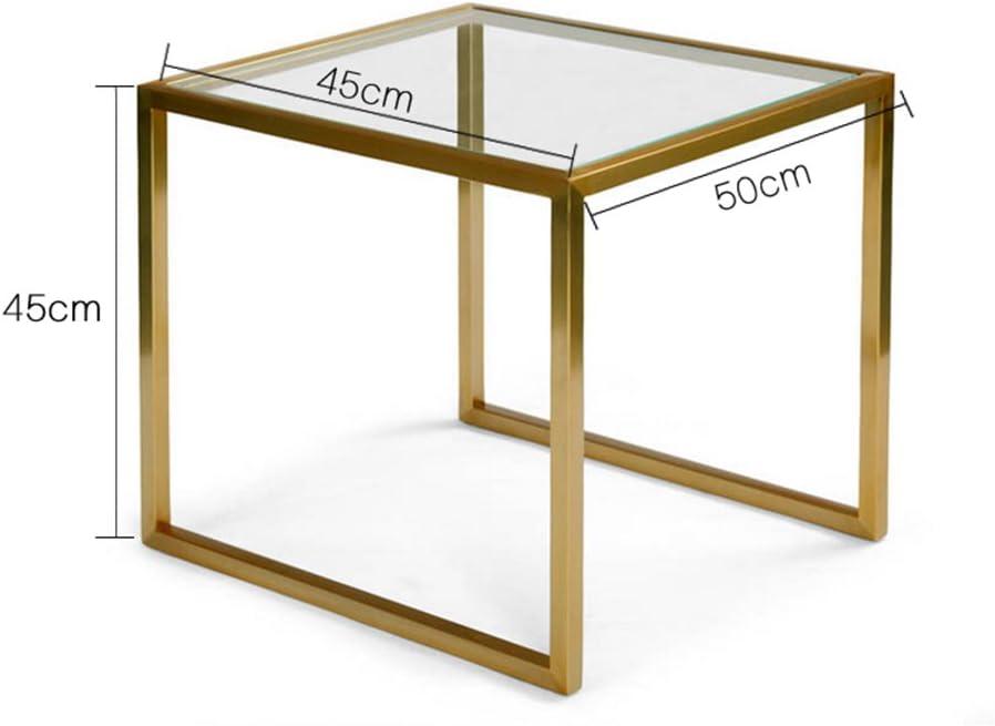 JH pequeño mesa cuadrada cuadrada Mesa Salón Dormitorio Mesa té pequeña Hierro Cristal protector de plástico, hierro, dorado, 50 * 45 * 45cm/*18 * 18 inch: Amazon.es: Hogar