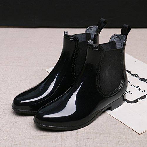 Xinwcang Zapatos Boot Botas Agua Negro Botas de Casual de Lluvia Impermeable Mujer Tobillo Chelsea rxTaf8qr