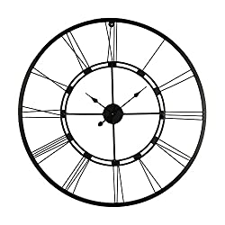 Decorlives 30 inch Black Color Live Extra Large Roman Wall Clock Handmade Wall Sculpture Art