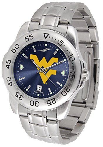 SunTime West Virginia Mountaineers Sport Steel Band Ano-Chrome Men's Watch