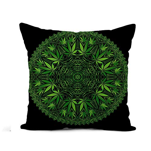 Awowee Flax Throw Pillow Cover Intricate and Funky Cannabis Mandala File Organized for Easy 16x16 Inches Pillowcase Home Decor Square Cotton Linen Pillow Case Cushion ()