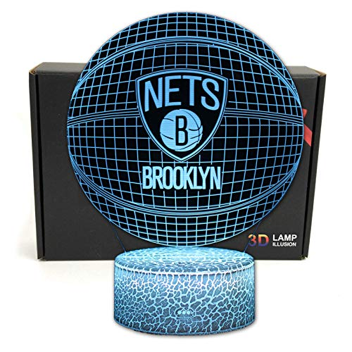 DGLighting Basketball Shape 3D Optical Illusion Smart 7 Colors LED Night Light Table Lamp with USB Power Cable, for NBA Fans Gift (Nets)