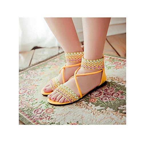 Sandalias planas de los estudiantes dulce del verano yardas grandes Amarillo