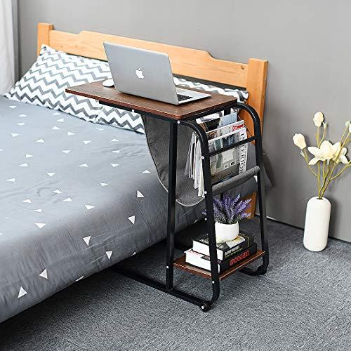 (Qwork Sofa Side Table Wheel Mobile Computer Desk with Storage Basket, Original)