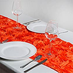 Efavormart Wonderland Rosette Premium Table Runners for Weddings Party Banquets Decor Fit Rectangle and Round Table - Orange