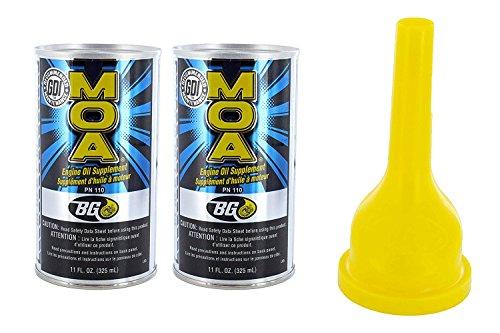 BG MOA Motor Oil Additive 11oz (2 Pack) with Funnel