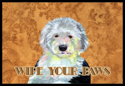 """Caroline's Treasures Old English Sheepdog Wipe Your Paws Indoor or Outdoor Mat, 18"""" x 27"""", Multicolor"""