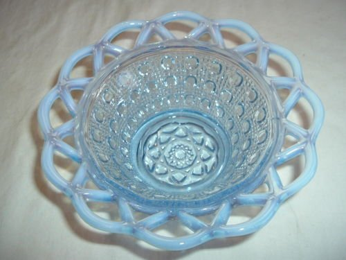 Vintage Imperial Glass Katy Opalescent Blue Reticulated Lace Edge Bowl Candy Dish in Button Pattern