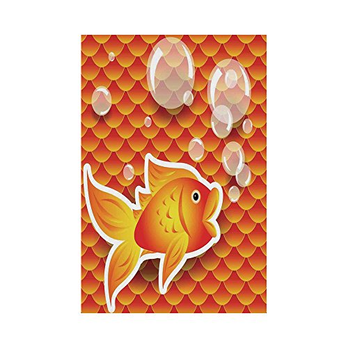 - Polyester Garden Flag Outdoor Flag House Flag Banner,Burnt Orange,Cute Small Goldfish Talking with Bubbles Random Scallop Patterns Decorative Home Decorative,Burnt Orange,for Wedding Anniversary Home