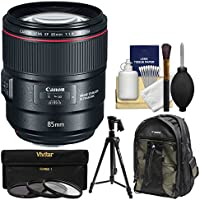 Canon EF 85mm f/1.4L IS USM Lens with Backpack + 3 UV/CPL/ND8 Filters + Tripod + Kit