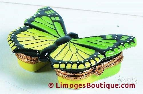 Green/Yellow Butterfly - French Limoges Boxes - Porcelain Figurines Collectible Gifts
