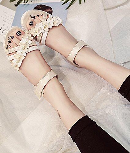 Minetom Mujer Verano Moda Dulce Peep Toe Sandalias Bohemia Floral Diamante De Imitación Plana Zapatos Zapatillas De Playa Beige