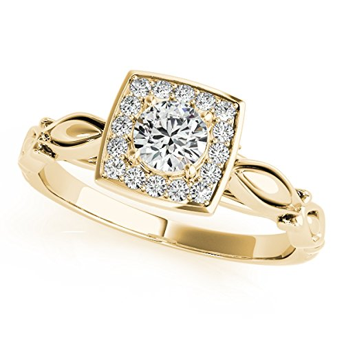 0.50 Ct Diamond Halo Square Cut Engagement Ring In 14K Yellow Gold by MauliJewels (Image #4)