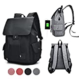 GuiShi(TM) Women Girls Casual polyester Backpack Purse Travel Work College School Bag with USB Charging Port (Black)