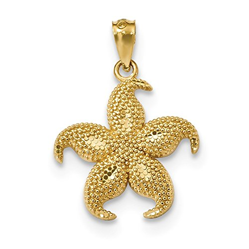 - Jewelry Best Seller 14k D/C Satin & Polished Beaded Starfish Pendant