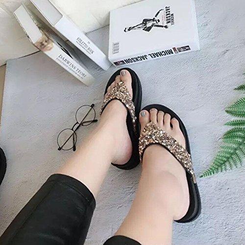 Slip Slip WordBlack Sandales Et Pantoufles Femmes Wild De Herringbonegold Fashion Outdoor pour GUANG 39 XING Word 37 Plage Sandales Femmes Pantoufles OT651