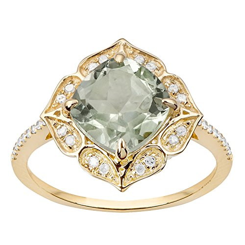 green amethyst and diamond ring - 6