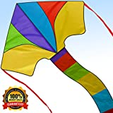 [2018 Newest Edition] Delta Kite - Best Easy Flyer 40 Inch Kites for Kids and Adults - Assemble & Fly in Seconds, Whole Kit with Handle, Tails and String - Priceless Memories - Limited Supplies