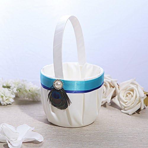KateMelon Wedding Flower Girl Basket Peacock Plume / KateMelon Wedding Flower Girl Basket Peacock Plume