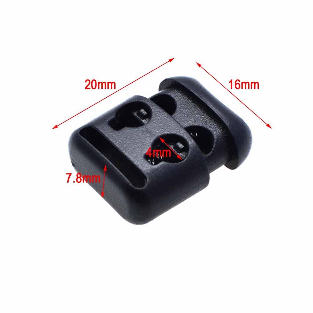 30pcs 2 Hole Cord Locks Toggle Clip Buckle Rope Cord Lock Stopper Black